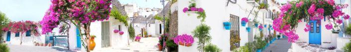 скинали для кухни фрески улочки с белыми домами и розовыми цветами