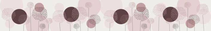 скинали для кухни коричнево-розовые круги одуванчиков