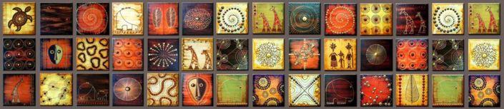 фартук для кухни рисунки в квадратиках цветные тематика Африка