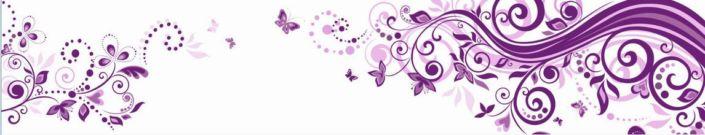 фартук для кухни белый с фиолетовым узором и рисунком