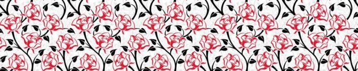 скинали для кухни узоры роз красных в с чёрными листочками в белом