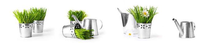 фартук для кухни белый с декором трава в ведёрках