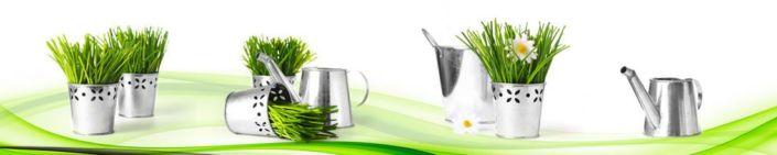 фартук для кухни декор трава лейки ведерки абстракция белая и зелёная