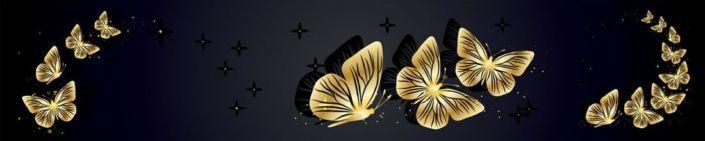 фартук для кухни золотистые бабочки в чёрном фоне