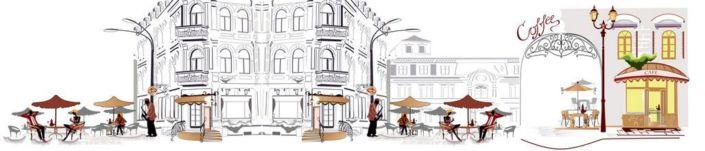 фартук для кухни уличное кафе в чёрно-белом и цветном