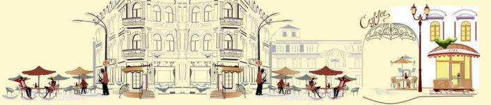 фартук для кухни жёлтый фон уличное кафе