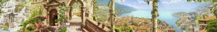 фартук для кухни фрески водопад старый город набережная