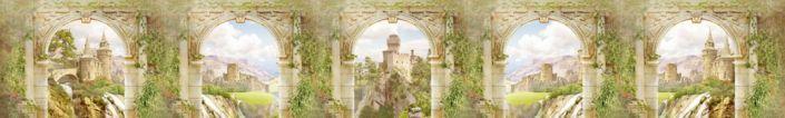 фартук для кухни фрески каменная стена с колонами и виды на стариные замки