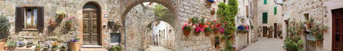 скинали для кухни фрески улочка в старом городе цветы на стенах
