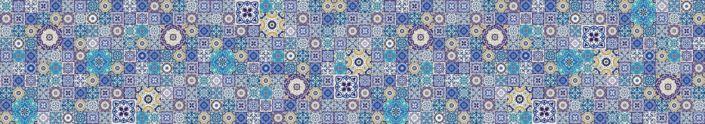 фартук для кухни синий по плитки с узором