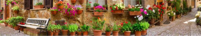 скинали для кухни фрески улица цветами в горшках