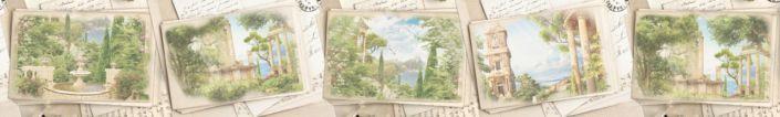 фартук для кухни фрески коллаж открыток