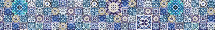 Скинали для кухни синий плитка узор майолики