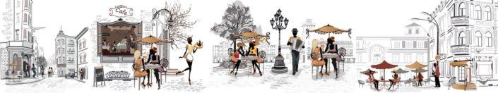 фартук для кухни кафе на улочках в серых и цветных тонах