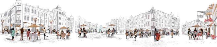 фартук для кухни уличные кафе городка с людьми в цветном фоне