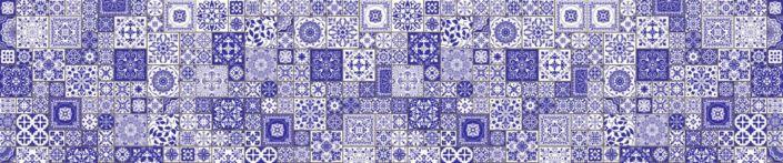 Скинали для кухни плитка с фиолетовым узором майолика