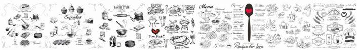 фартук для кухни чёрно-белые рисунки кухонной утвори