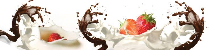 фартук для кухни клубника с белым и чёрным шоколадом