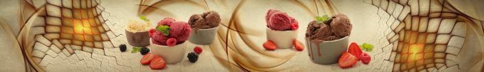 фартук для кухни мороженое шоколадное и клубничное в абстракции