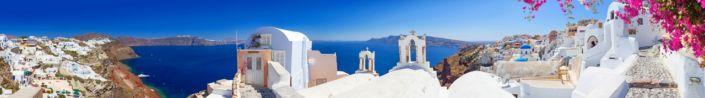 фартук для кухни набережная с белыми домами Греции