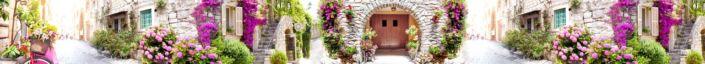скинали для кухни фрески улочки дома каменные цветы