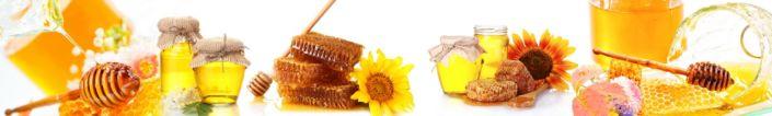 фартук для кухни мёд в сотах на белом фоне
