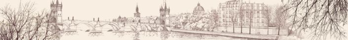 фартук для кухни мост с башнями рисунок в цвете сепии