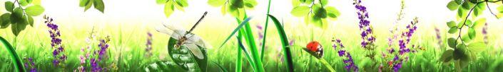 скинали для кухни трава стекоза божьи коровки цветы на лугу