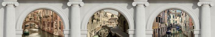 фартук для кухни вид Венеции гранитная стена арки колоны