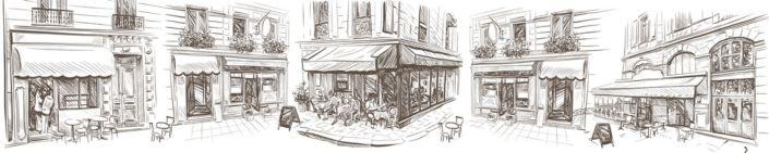 фартук для кухни рисунок угловой улочки с кафе в серых тонах