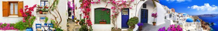 скинали для кухни белые домики в цвету Греции