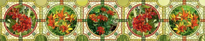 фартук для кухни композиция из витражей цветы