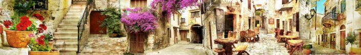 скинали для кухни фрески улицы с цветами и кафешками