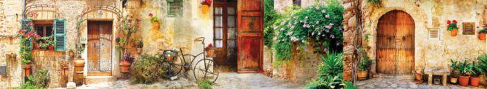 скинали для кухни фрески улочка стена цветы и двери