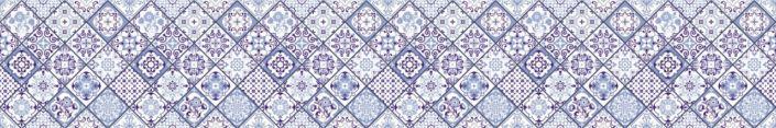 фартук для кухни синяя с узором в плитке ромб