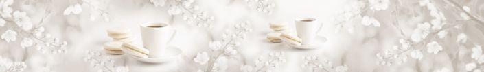 фартук для кухни кофе и пирожное макароне в белых цветах в сером фоне