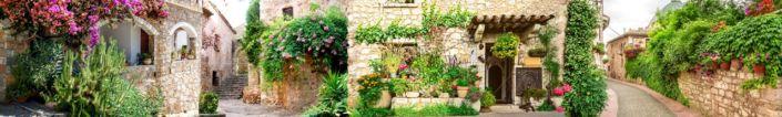 скинали для кухни фрески цветущие улицы камные домики