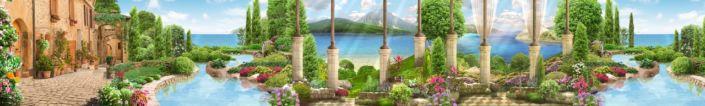 фартук для кухни фрески набережной кипарисы цветы