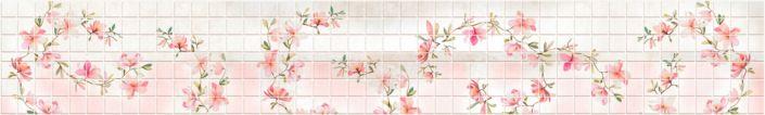 фартук для кухни розовый под плитку с цветами