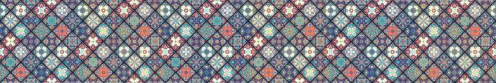 фартук для кухни ромбообразная плитка майолика в синем