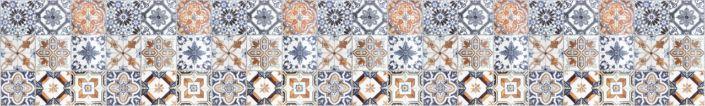 фартук для кухни плитка изразцы коричнево-голубая