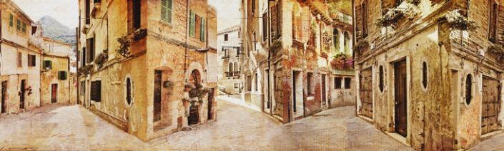 скинали для кухни фрески старинные улицы Европы