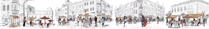 фартук для кухни угловые кафе в городе с людьми
