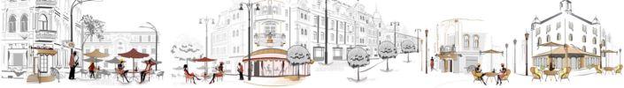 фартук для кухни кафе уличное в серо-коричневых в белых тонах