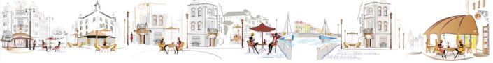 фартук для кухни кафе улочка в серо-белом и цветном