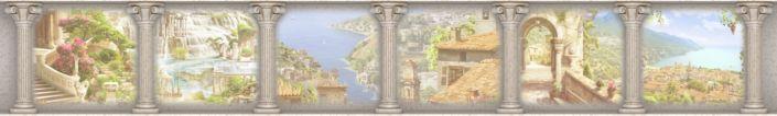 фартук для кухни фрески с колонами вид набережного города