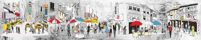 фартук для кухни городские улочки с кафе люди в цветном рисунке
