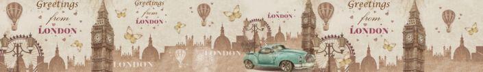 фартук для кухни Лондон башня с чаами и машиной голубая