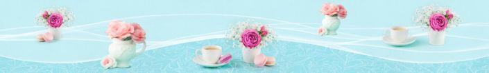 фартук для кухни цветы в вазах и кофе в голубом фоне
