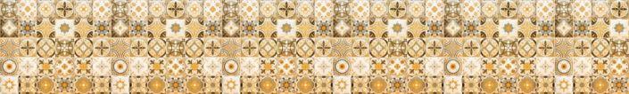 фартук для кухни плитка с узором золотисто-коричневый